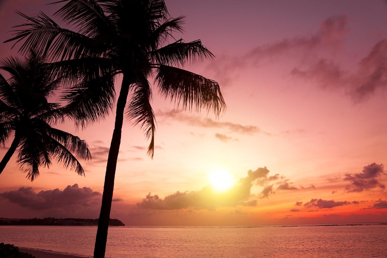 Zapadající sluníčko u pláže